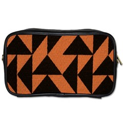 Brown Triangles Background Toiletries Bags