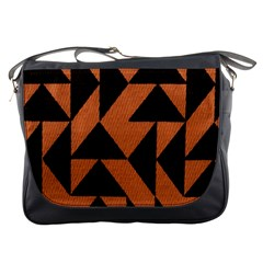 Brown Triangles Background Messenger Bags