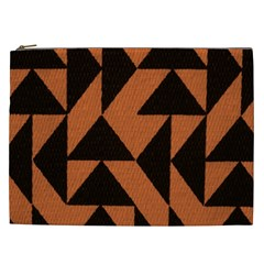 Brown Triangles Background Cosmetic Bag (XXL)