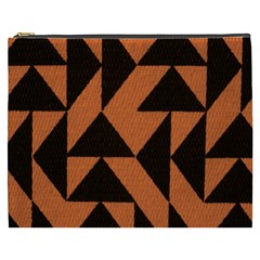 Brown Triangles Background Cosmetic Bag (XXXL)