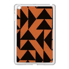 Brown Triangles Background Apple iPad Mini Case (White)