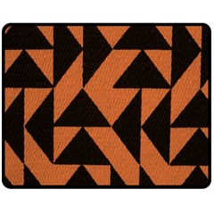Brown Triangles Background Double Sided Fleece Blanket (Medium)