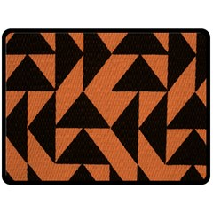 Brown Triangles Background Double Sided Fleece Blanket (Large)