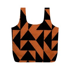 Brown Triangles Background Full Print Recycle Bags (M)