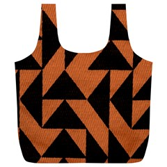 Brown Triangles Background Full Print Recycle Bags (L)