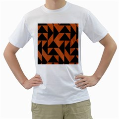 Brown Triangles Background Men s T-Shirt (White)