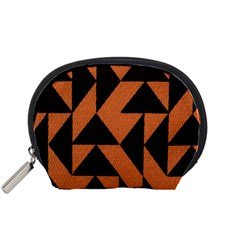 Brown Triangles Background Accessory Pouches (Small)