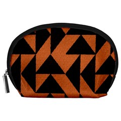Brown Triangles Background Accessory Pouches (large)
