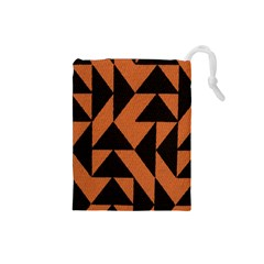 Brown Triangles Background Drawstring Pouches (Small)