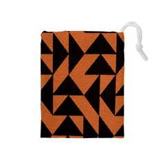 Brown Triangles Background Drawstring Pouches (Medium)