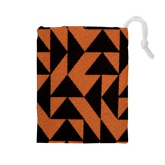 Brown Triangles Background Drawstring Pouches (Large)