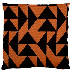 Brown Triangles Background Large Flano Cushion Case (One Side)
