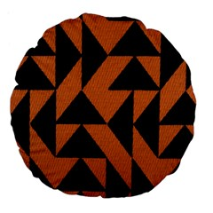 Brown Triangles Background Large 18  Premium Flano Round Cushions