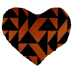 Brown Triangles Background Large 19  Premium Flano Heart Shape Cushions