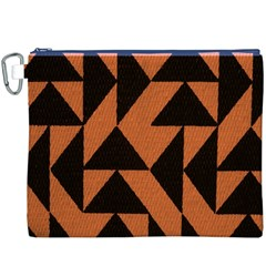 Brown Triangles Background Canvas Cosmetic Bag (XXXL)
