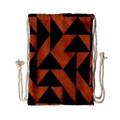 Brown Triangles Background Drawstring Bag (small)