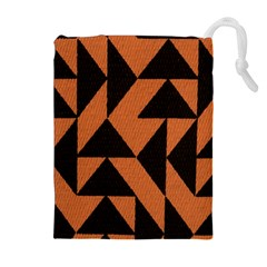 Brown Triangles Background Drawstring Pouches (Extra Large)