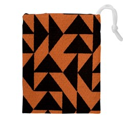 Brown Triangles Background Drawstring Pouches (xxl)