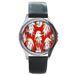 Leaves Pattern Background Pattern Round Metal Watch