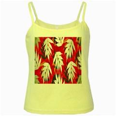 Leaves Pattern Background Pattern Yellow Spaghetti Tank