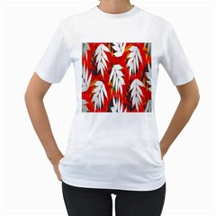 Leaves Pattern Background Pattern Women s T Shirt (white) (two Sided)