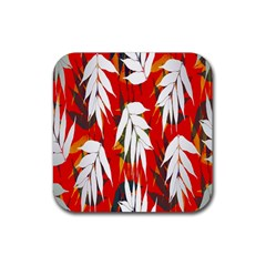 Leaves Pattern Background Pattern Rubber Coaster (square)