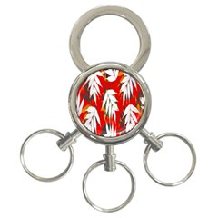 Leaves Pattern Background Pattern 3 Ring Key Chains