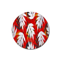 Leaves Pattern Background Pattern Rubber Round Coaster (4 pack)