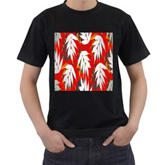 Leaves Pattern Background Pattern Men s T-Shirt (Black) (Two Sided)