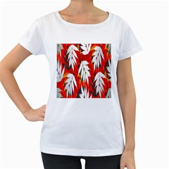Leaves Pattern Background Pattern Women s Loose-Fit T-Shirt (White)