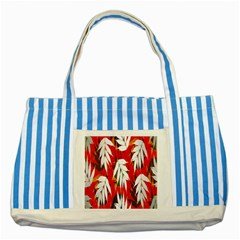 Leaves Pattern Background Pattern Striped Blue Tote Bag
