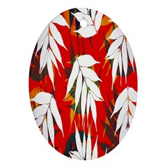 Leaves Pattern Background Pattern Oval Ornament (Two Sides)
