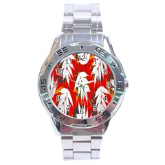 Leaves Pattern Background Pattern Stainless Steel Analogue Watch