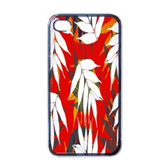 Leaves Pattern Background Pattern Apple Iphone 4 Case (black)