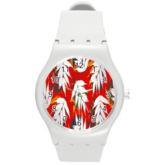 Leaves Pattern Background Pattern Round Plastic Sport Watch (m)
