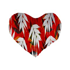 Leaves Pattern Background Pattern Standard 16  Premium Heart Shape Cushions