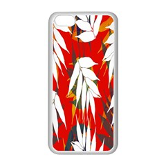 Leaves Pattern Background Pattern Apple iPhone 5C Seamless Case (White)