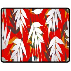 Leaves Pattern Background Pattern Double Sided Fleece Blanket (Medium)