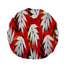 Leaves Pattern Background Pattern Standard 15  Premium Flano Round Cushions