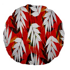 Leaves Pattern Background Pattern Large 18  Premium Flano Round Cushions
