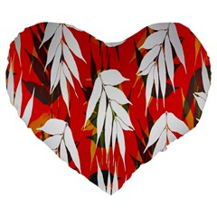 Leaves Pattern Background Pattern Large 19  Premium Flano Heart Shape Cushions