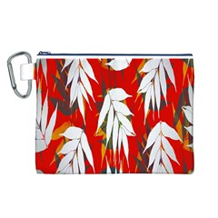 Leaves Pattern Background Pattern Canvas Cosmetic Bag (L)
