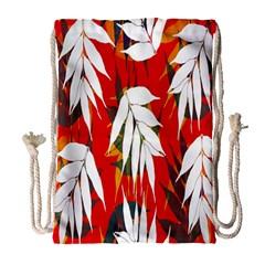 Leaves Pattern Background Pattern Drawstring Bag (large)