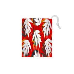 Leaves Pattern Background Pattern Drawstring Pouches (XS)