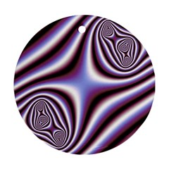 Fractal Background With Curves Created From Checkboard Ornament (round)