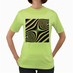 Fractal Background With Curves Created From Checkboard Women s Green T-Shirt