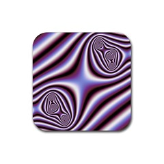 Fractal Background With Curves Created From Checkboard Rubber Square Coaster (4 Pack)