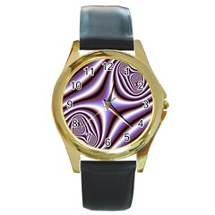 Fractal Background With Curves Created From Checkboard Round Gold Metal Watch