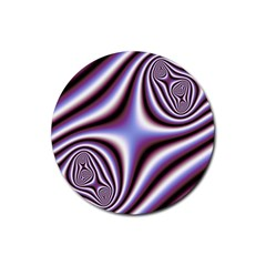 Fractal Background With Curves Created From Checkboard Rubber Coaster (Round)