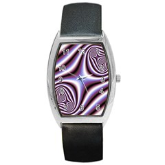 Fractal Background With Curves Created From Checkboard Barrel Style Metal Watch